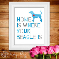 """Printable wall art decor: """"Home is where your Beagle is"""" Personalize with dog's name - Beagle dog (Custom digital download - JPG)"""