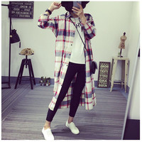 Plaid Shirt Collar Buttoned Long Sleeves Coat