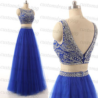 Royal blue long prom dress,handmade crystal/beading tulle royal blue formal women evening dress,cap sleeve wedding party dress