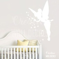 Vinyl Wall Decal Sticker Peter Pan Tinkerbell Fairy Kids Nursery Bedroom r1888