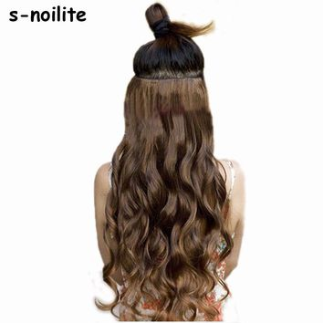 """S-noilite 18-28"""" Curly 3/4 Full Head Clip in Hair Extensions Black Brown Blonde Real Natural Synthetic One Piece for human"""