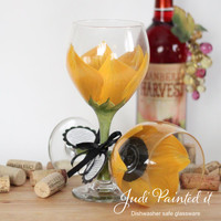Hand painted wine glass in a Sunflower design