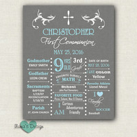 First Communion Poster - Boy Communion Poster - Digital First Communion Sign - Confirmation Poster - Grey Poster