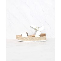 Strappy Espadrille Platform Sandals in White