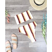 Final Sale - Reverse - Lean On Stripe Bandeau High Waist Bikini Set