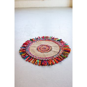 Recycled Braided Kantha & Sea Grass Rug  -  Small