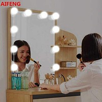 AIFENG 8W Usb Powered Vanity Light Mirror Light Makeup Lamp 10 Bulbs Kit For Dressing Table With Dimmer, Mirror Not Include