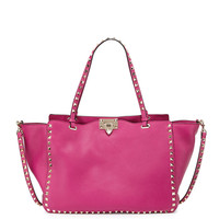 Rockstud Grained Leather Medium Tote Bag, Pink - Valentino