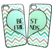 Mint Green Best Friends iphone 4 Case - Set of Two Friends Forever iPhone 4s Case / Cover