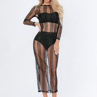 Alexia Sheer Mesh Long Dress with Bustier and Shorties - Black