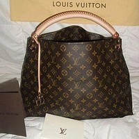 LV Louis Vuitton Fashion Lady Printed Shopping Bag Hand Bill Shoulder Bag Coffee