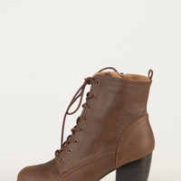Pointy Toe Lace Up Booties - Brown - 10