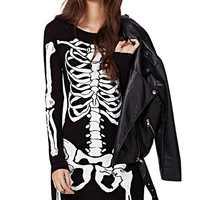 Skeleton Print Long Sleeve Mini Bodycon Dress