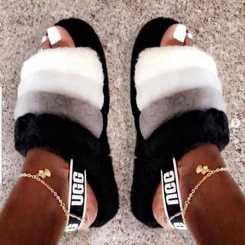UGG Hight Quality New Fashion Women Fur Flats Solid Color Sandals Slipper Shoes