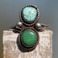 1 Boho Sterling Silver Turquoise Ring Navajo Gypsy