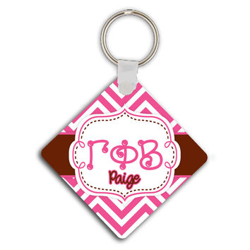 GAMMA PHI BETA - THIN PINK CHEVRON WITH BROWN - GPB SORORITY KEYCHAIN