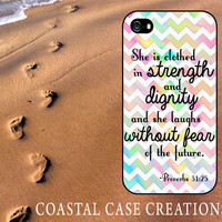 Colorful Chevron Proverbs 31:25 Bible Verse Apple iPhone 4 and 5 Hard Plastic or Rubebr Cell Phone Case Cover Original Trendy Stylish Design