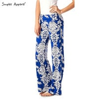 Simplee apparel Exuma Palazzo pants female flare boho summer elastic high waist pants baggy casual Women loose preppy trousers