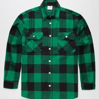 Rothco Heavyweight Mens Flannel Shirt Green  In Sizes