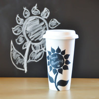 Black and White Chalkboard Mug - Porcelain Eco-cup with Sunflowers - Flowers  Ceramic Travel Mug with Lid - Thermal Tumbler