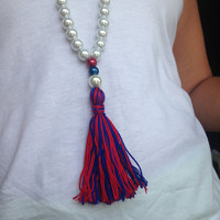 Ole Miss Inspired Leather and Pearl Tassel Necklace