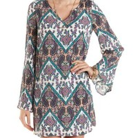 Paisley Bell Sleeve Shift Dress by Charlotte Russe