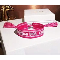 DIOR New Hot Sale Woman Multicolor Canvas Bracelet Hand Catenary 3#