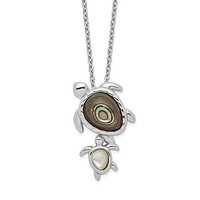 """Sterling Silver Mother and Baby Paua Abalone And Mother of Pearl Turtle 18"""" Necklace"""