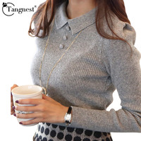 TANGNEST Women Sweater 2016 New Fashion Casual Spring Autumn Solid Color Buttons Office Pullover Slim Knitted Sweaters WZM1069
