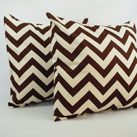 2 Chevron Brown Throw Pillow Covers - 20 x 20 inches - Brown and Beige Couch Pillow Throw Pillow Cushion Cover Accent Pillow
