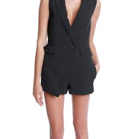 Objective Manner Tux Romper - Black