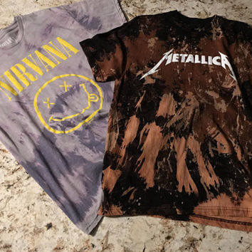 Custom made Fog (fear of god) Inspired Nirvana/Metallica bleached Band Tee Mens Streetwear, Vintage Rock Shirts