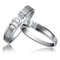 """Exquisite 2 Rings His & Hers Cubic Zirconia Promise Rings """"I Do"""" Rings Sizes 5 to 14"""
