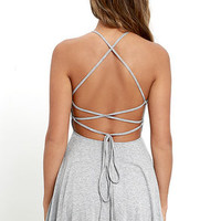 Tied Together Heather Grey Lace-Up Dress