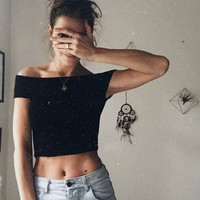 Solid Short Sleeve Knitted Pullover Crop Top