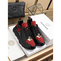 Versace Fashion Black/Red Casual Women Men Sneakers Sport Shoes
