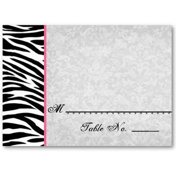Black White Zebra Place Cards for Wedding or other Party Reception or Banquet
