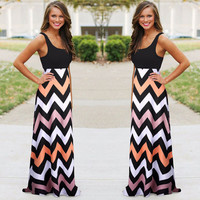 Sleeveless Striped Sheath Maxi Dress