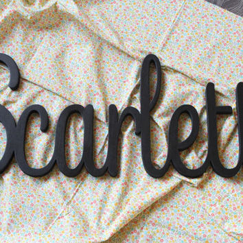 Scarlett Script Gray Wooden Name Sign, Painted Nursery Letters, Baby Name Sign, Nursery Decor, Wooden Nursery Letters, Crib Name Sign