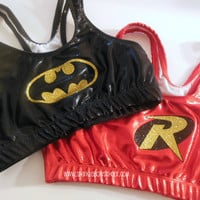 Batman and Robin Metallic Sports Bra Set Cheerleading, Yoga, Running, Working Out