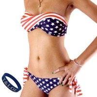 T&LOL 1 ONE SET 2pcs TWO pieces Hot New sexy women girls teens ladies Sexy the USA America Flag Padded Bandeau Bikini Trikini Push up Swimming Swimsuit Swimwear underwear Bra top Bottom Beachwear Bathing Suit + T&LOL bracelet (M)