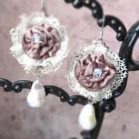 Romantic textile lace rose earrings / sensual pastel flower / cream white baroque pearl, Swarovski clear crystal, rhinestone, oxidized brass