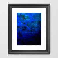 SECOND STAR TO THE RIGHT Rich Indigo Navy Blue Starry Night Sky Galaxy Clouds Fantasy Abstract Art Framed Art Print by EbiEmporium