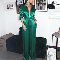 Spring and summer women's new satin button deep V season girdle jumpsuit