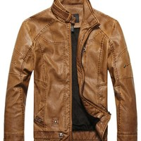 Men's Fashion Stand Collar Pu Leather Motorcycle Jacket Outerwear