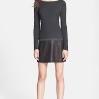 Theory 'Keiran' Leather Accent Dress