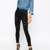 ASOS Ridley Skinny Jeans in Washed Black with Extreme Rips at asos.com