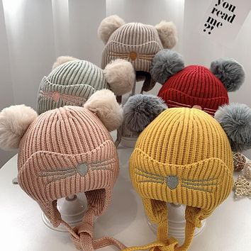 Winter Baby Hats, Baby Ear Protection Woolen Caps, Cute Boys And Girls Winter Hats, Infants And Toddlers Warm Caps