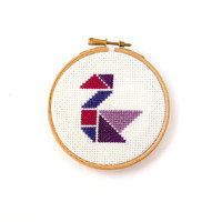 Swan art, cross stitch hoop art, nursery wall art, kids wall decor, girls wall art, tangram shape