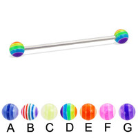 Long barbell (industrial barbell) with acrylic layered balls, 14 ga